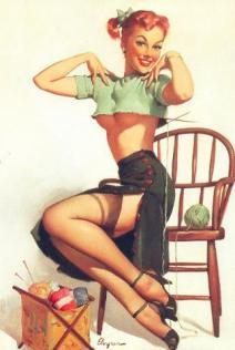 Elvgrin knitting pinup girl